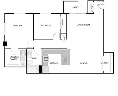 2 Bed, 1 Bath, 1180sqft floorplan