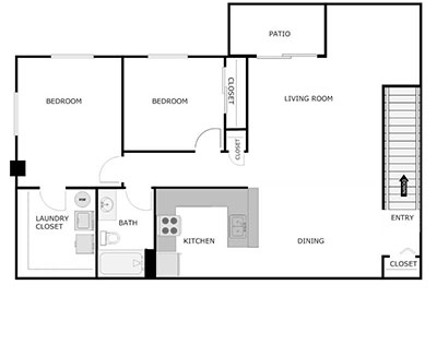 2 Bed, 2 Bath, 1200sqft floorplan